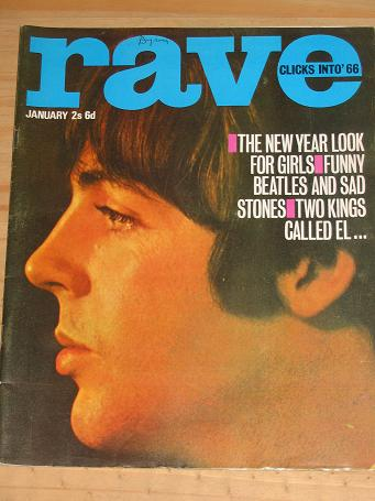 RAVE MAGAZINE JANUARY 1966 FOR SALE STONES BEATLES VINTAGE POP MUSIC TEEN GIRL PUBLICATION PURE NOST