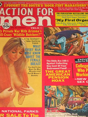 ACTION FOR MEN magazine, May 1973 issue for sale. Vintage PULP ART, PIN-UPS, ADVENTURE, STORIES, MEN