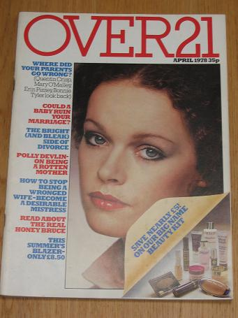 OVER 21 magazine April 1978. Vintage womens, fashion, style publication for sale. Classic images of