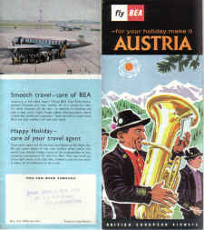 BEA VINTAGE HOLIDAY BROCHURE 1960 VISCOUNT AUSTRIA