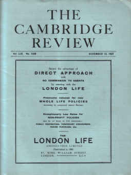 THE CAMBRIDGE REVIEW, November 12 1937 issue for sale. ARCTIC EXPEDITION, UNIVERSITY SPORT. Birthday