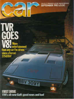 CAR magazine September 1983. TVR 350i, PANTHER, KALLISTA, VW GOLF, QUATRO. Vintage motoring publicat