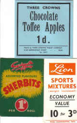 SWEET SHOP 3XORIG 50S 60S PRICE CARDS LION SWIZZELS 3CROWNS CONFECTIONARY