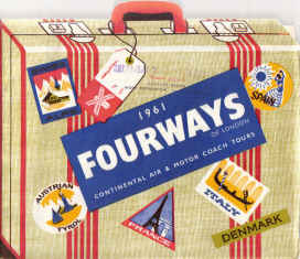 FOURWAYS VINTAGE HOLIDAY BROCHURE 1961 AIR COACH CONTINENTAL