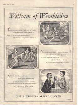 ORIG 1957 GUINNESS MAG AD GE2367A WILLIAM WIMBLEDON TENNIS