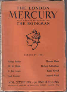LONDON MERCURY MAG FEB 1936 EDITH SITWELL C DAY LEWIS THOMAS MANN