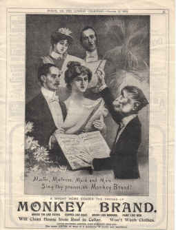 ORIG 1905 MONKEY BRAND MAG AD LEVER BROTHERS PORT SUNLIGHT