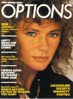 OPTIONS magazine, March 1986 issue for sale. JACQUELINE BISSET, RUSSELL HARTY.