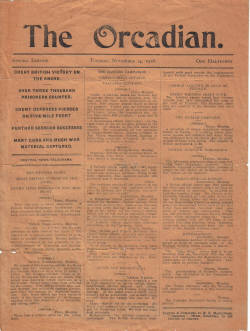 ORCADIAN NOV 14 1916 SPECIAL EDITION GREAT BRITISH VICTORY NEWS SHEET
