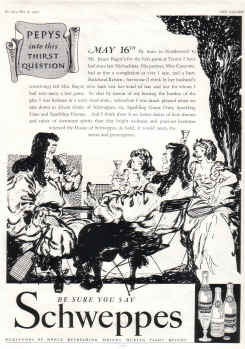 ORIG 1937 SCHWEPPES MAG AD PEPYS THIRST QUESTION MAY16TH