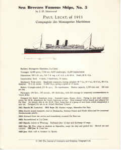 SEA BREEZES FAMOUS SHIPS 5 PAUL LECAT 1911 ISHERWOOD