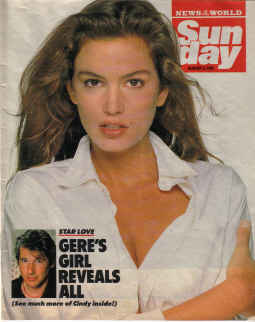 SUNDAY MAG AUG 5 1990 CINDY CRAWFORD MOVIE STAR