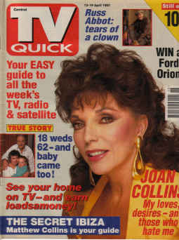 TV QUICK MAG AP 13 TO 19 1991 JOAN COLLINS COVER MY LOVES DESIRES